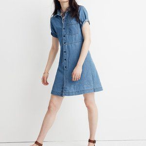 Denim Waisted Shirtdress in Penview Wash
